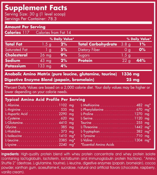 scitec-100-whey Supplement Facts