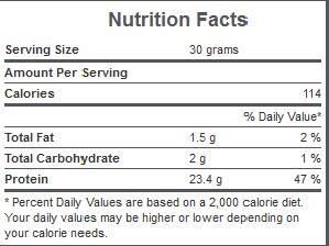 Weider Premium Whey Supplement Facts