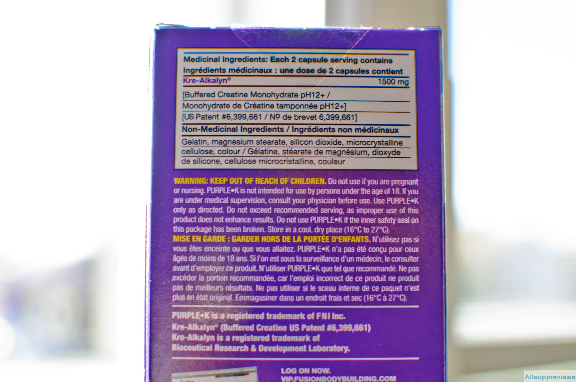 Purple K Supplement facts